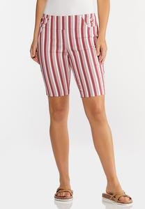 Chili Stripe Bermuda Shorts