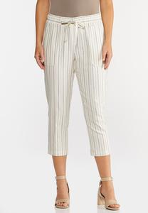 Cropped Striped Linen Pants