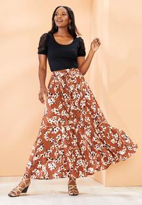 Plus Size Spotted Leaf Maxi Skirt