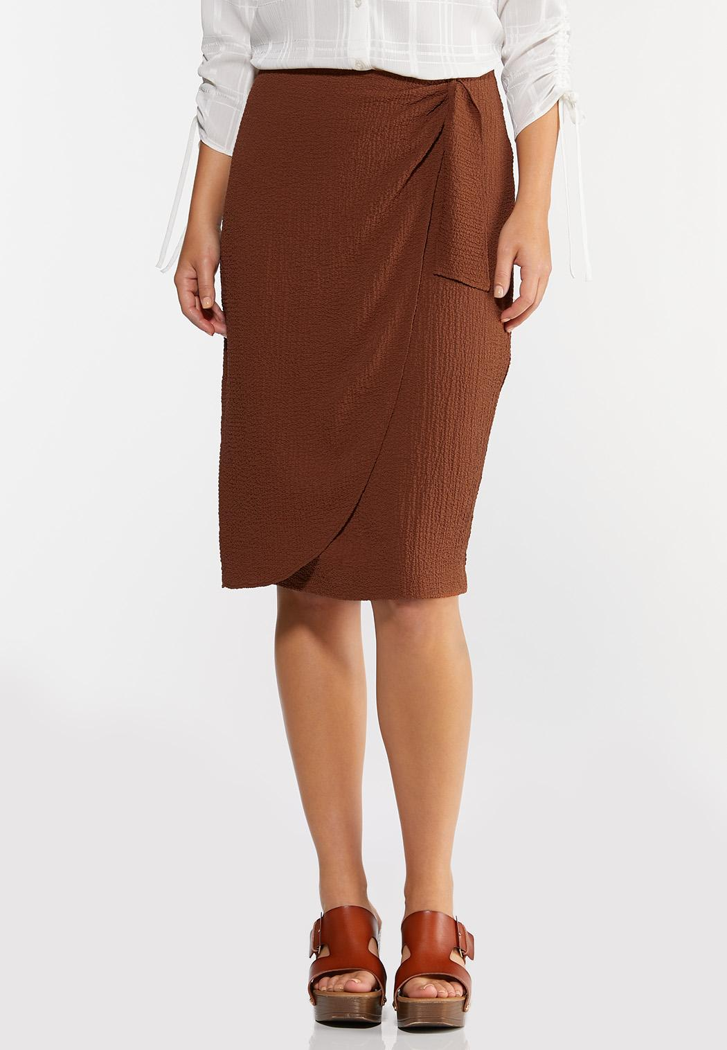 Textured Wrap Pencil Skirt