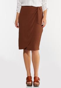 Textured Wrap Pencil Skirt