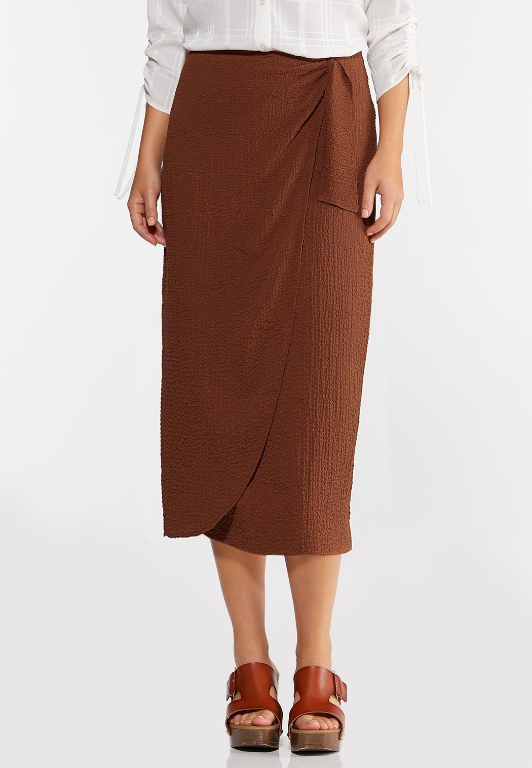 Plus Size Textured Wrap Pencil Skirt