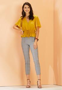 Blue Plaid Ankle Pants