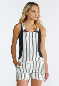 Striped Short Overalls