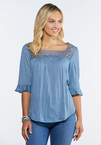Plus Size Crinkled Square Neck Poet Top