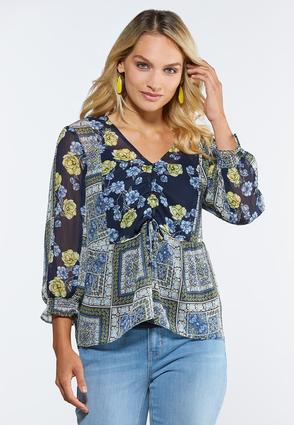 Plus Size Sheer Patchwork Top