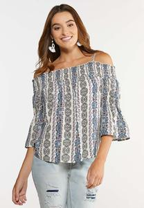 Plus Size Smocked Off Shoulder Poet Top