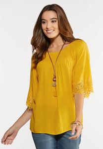 Plus Size Solid Lace Trim Poet Top