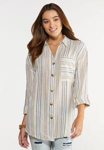 Plus Size Stripe Linen Button Down Shirt