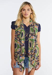 Plus Size Green Paisley Vest