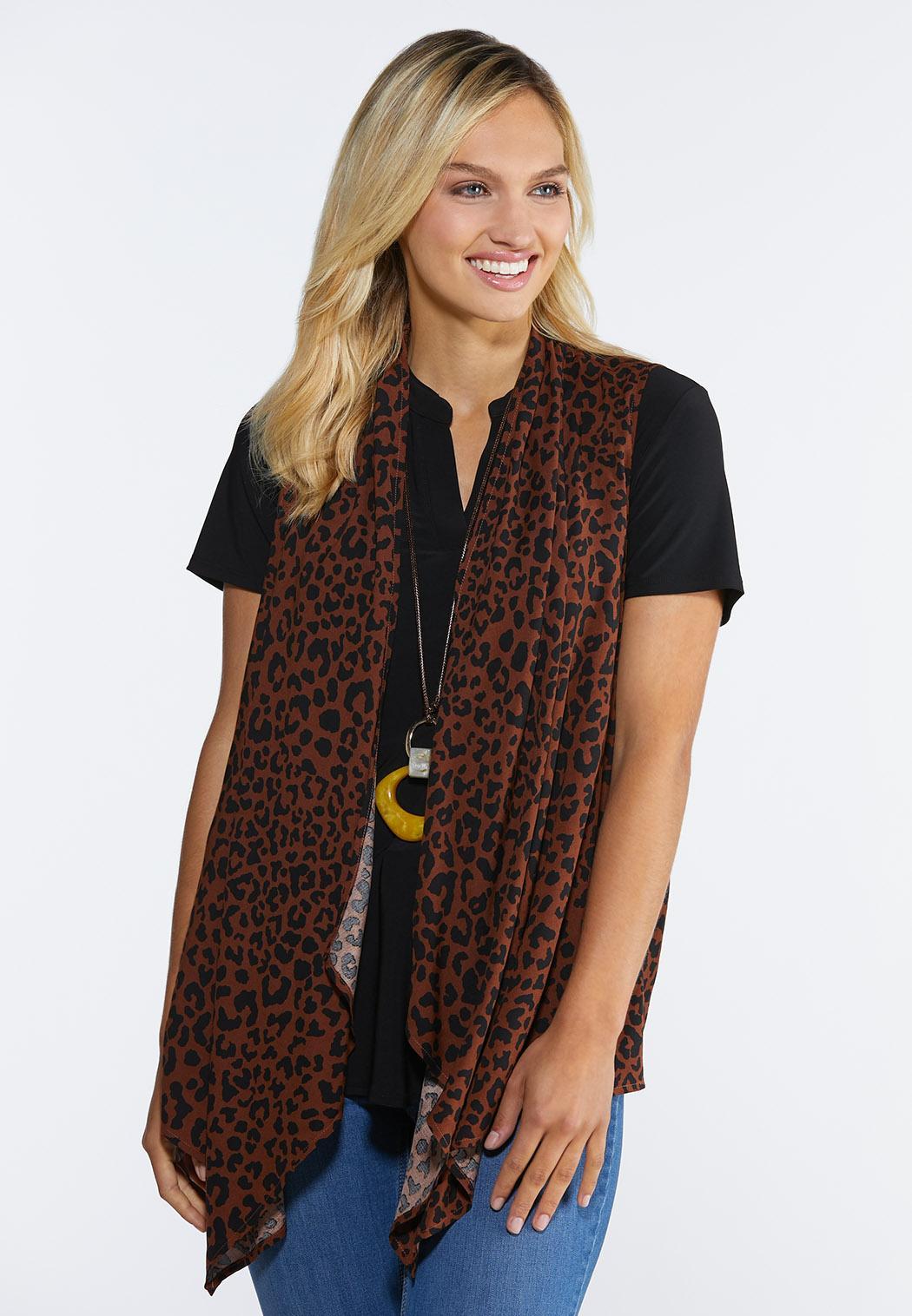 Plus Size Leopard Print Vest