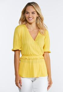 Plus Size Yellow Peplum Top