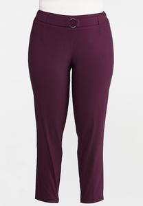 Plus Size Purple Belted Bengaline Pants