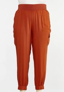 Plus Size Rust Utility Joggers