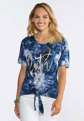 Plus Size Foiled Faith Tie Tee