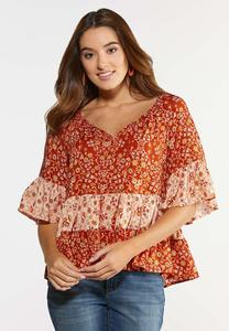 Orange Ruffled Floral Top