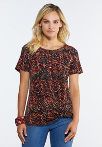 Plus Size Twisted Animal Print Top