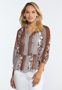 Sheer Lantern Sleeve Top