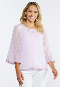 Lilac Dotted Sleeve Top