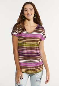 Plus Size Striped Ruched Sleeve Top