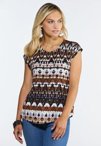 Plus Size Aztec Dolman Sleeve Top