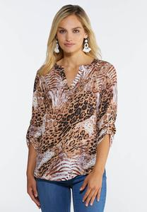 Plus Size Lilac Animal Print Top