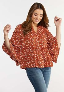 Plus Size Ruffled Rust Floral Poet Top