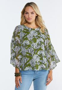 Plus Size Green Sketch Floral Poet Top