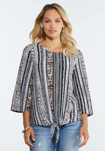Plus Size Mixed Animal Print Top