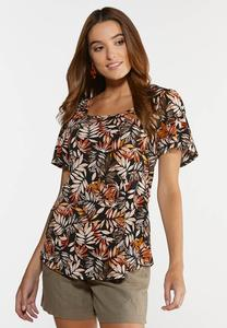 Plus Size Orange Leafy Top