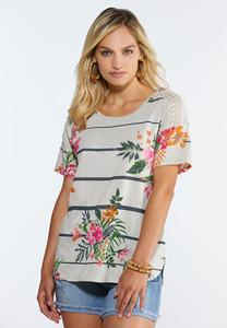 Tropical Lace Shoulder Top