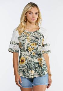 Plus Size Tropical Lace Sleeve Top