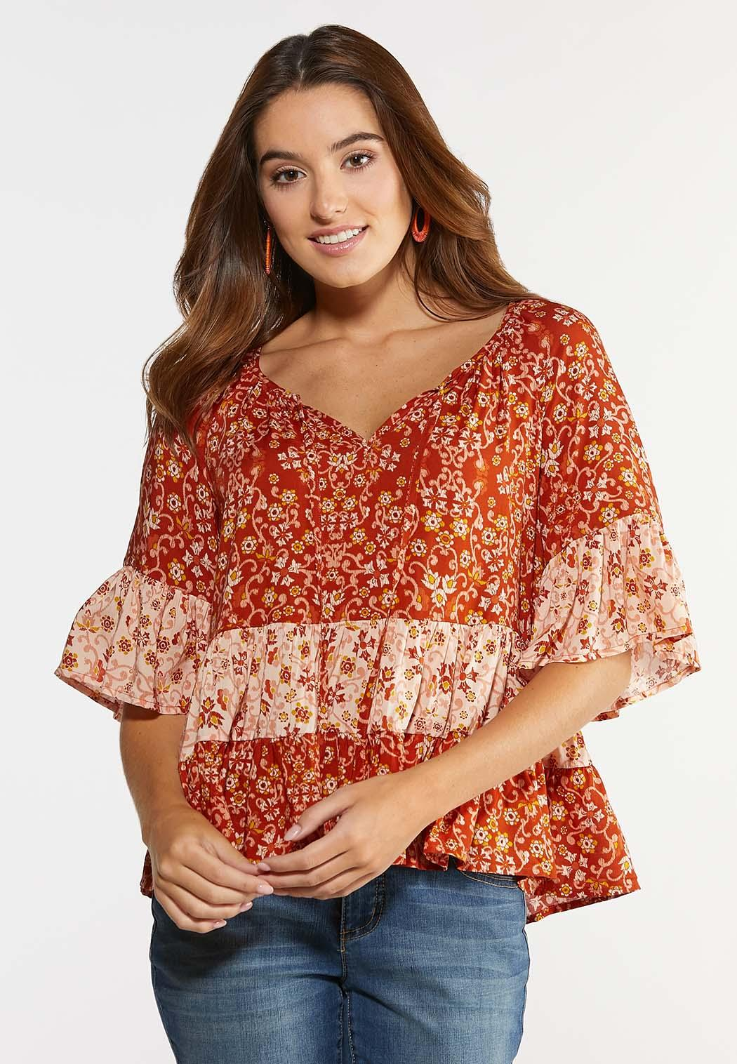 Plus Size Orange Ruffled Floral Top