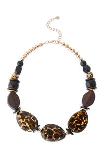 Leopard Lucite And Wood Bead Necklace