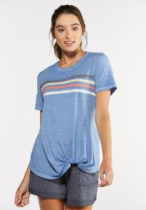 Plus Size Twisted Stripe Tee