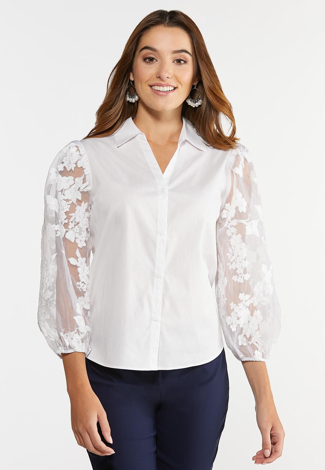 Sheer Floral Sleeve Top