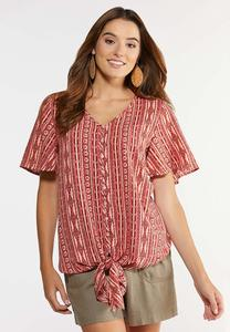 Plus Size Aztec Tie Front Top