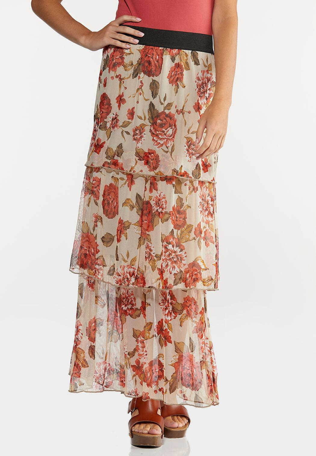 Plus Size Floral Tiered Mesh Maxi Skirt
