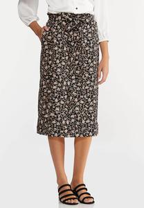 Plus Size Floral Garden Tie Waist Skirt
