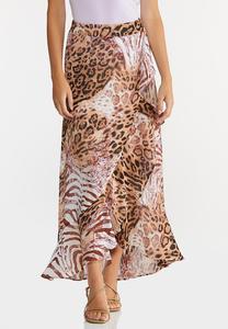Plus Size Leopard Wrap Maxi Skirt