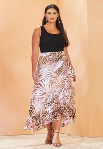 Plus Size Leopard Wrap Maxi Skirt