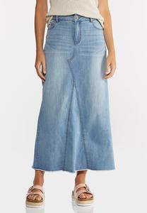 Plus Size Denim Raw Hem Maxi Skirt