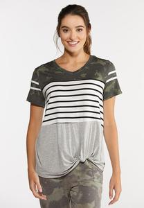 Camo Stripe Knotted Tee
