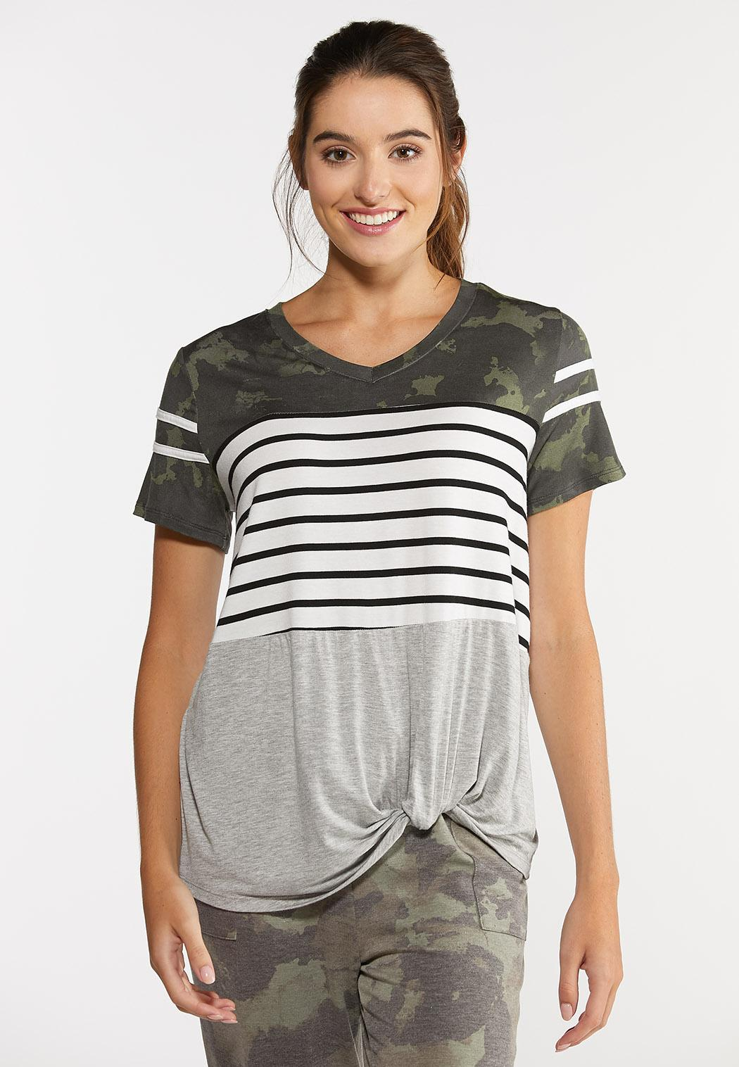 Plus Size Camo Stripe Knotted Tee