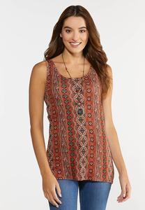 Plus Size Knit Paisley Tank
