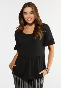 Plus Size Ruffled Babydoll Top