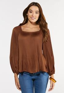 Plus Size Pleated Square Neck Top