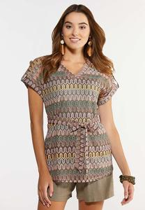 Plus Size Tie Front Knit Top