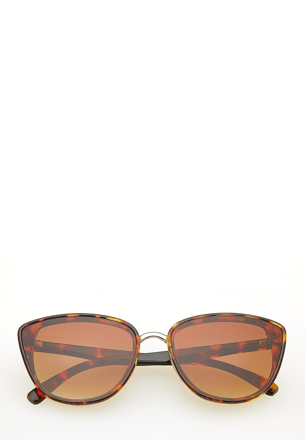 Metal Trim Tort Cateye Sunglasses