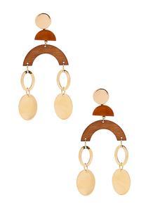 Wood Metal Mobile Earrings